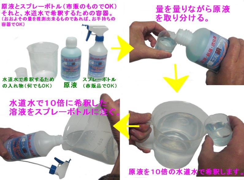 除菌・抗菌・消臭剤 銀さん銅さん スプレーボトルで噴霧する場合。